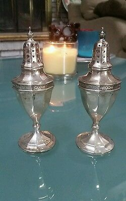 Antique Very Fine Sterling Silver Salt & Pepper Shakers FS Co S 16-1 Stamped