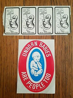 Lot of 5 Vintage Pro Life Stickers