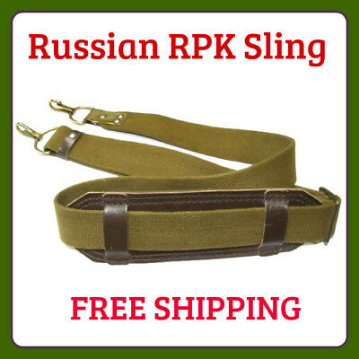 Tactical Two Point RPK PK PKM Rifle Gun Sling Leather Pad Canvas Adjustable 55in
