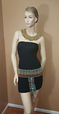 Egyptian coller beaded, Set Necklace and belt Handmade for Halloween .