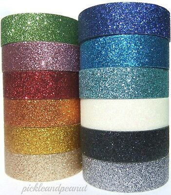 Glitter Washi Tape Decorative Masking Self Adhesive Stick On Sticky Ribbon Trim