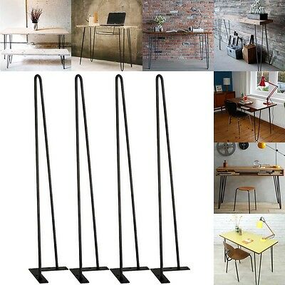 """3/8"""" Solid Metal Bar Hairpin Table Legs Set of 4 (4pcs) 28"""" Table Desk Bench"""