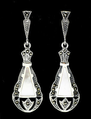 Fine Art Deco Style Mother Of Pearl Marcasite Earrings 925 Sterling Silver
