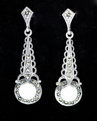 Beautiful Art Deco Style Mother Of Pearl Marcasite Earrings 925 Sterling Silver