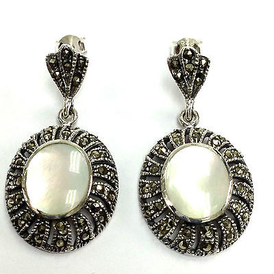 Sterling Silver 925 Art Deco style Mother of Pearl Marcasite Round Earrings