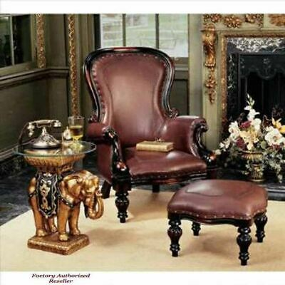 Antiqued 19th C.Victorian Rococo Style Solid Mahogany Wing Chair and Ottoman Set