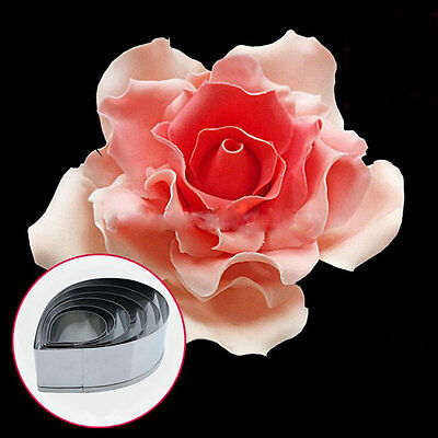 6x Rose Petal Cookie Stainless steel Mold Cake Decorating Pastry Mould