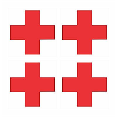 4 - RED CROSS ON WHITE BACKGROUND Window Bumper Laptop Helmet Sticker HS-996