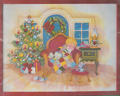 """Crewel Embroidery Picture Kit """"Waiting For Santa"""" Joan Marchie-Cat-New----SEALED"""