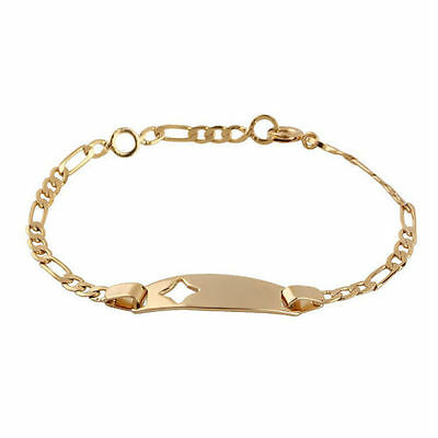 Baby Girls 18K Gp Plain  Cut-Out Star Pattern  Id Bracelet.free Post In Oz