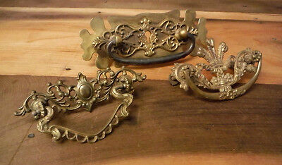 3 Antique Drawer Pulls Victorian Ornate Vintage Brass Metal Keyhole Handle Lot