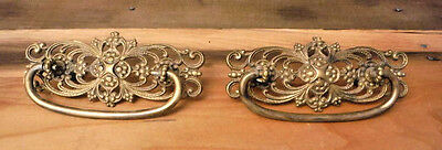 "2 Antique Drawer Pulls Victorian Ornate Brass Metal VTG Furniture Knob 3"" Center"