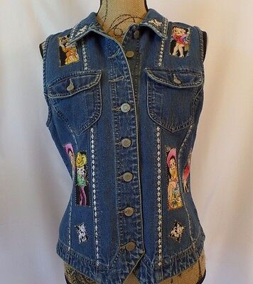 Gap Juniors Size L Large Betty Boop & Her Dog Pudgy Blue Denim Button Front Vest