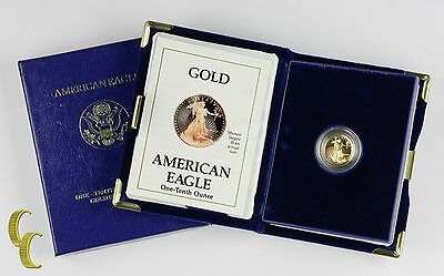 1990-P Proof Gold American Eagle 1/10 Oz. w/ Box, Case, and CoA Bullion Coin