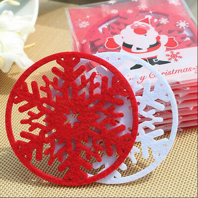 5pcs Xmas Snowflake Coasters Drink Placemats Coffee Wine Tea Tablemats Cup Mat