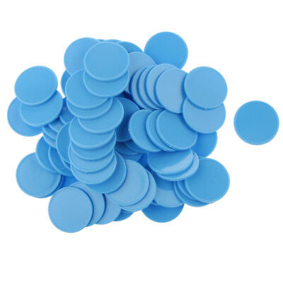 100pcs Casino Poker Chips Bingo Markers Kids Party Game Toy 25MM Light Blue