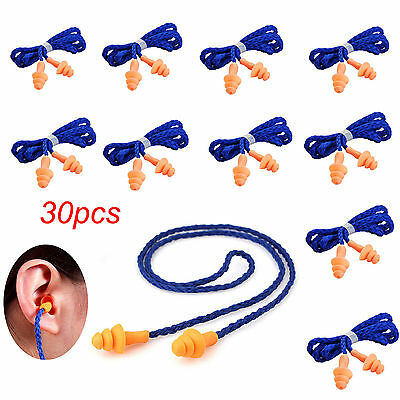30pcs Soft Silicone Corded Ear Plugs Reusable Hearing Protection Earplugs Blue