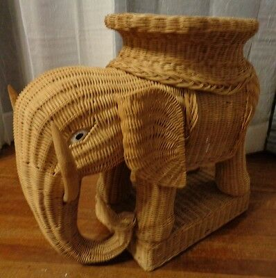 Vintage Woven Wicker Rattan Elephant Accent Table Plant Stand Tray Boho Bohemian