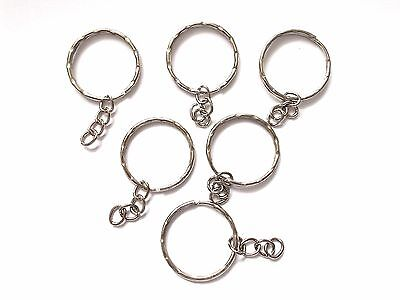 30pcs 25mm / 21mm KEY SPLIT RINGS with Chains - Dark Silver Tone