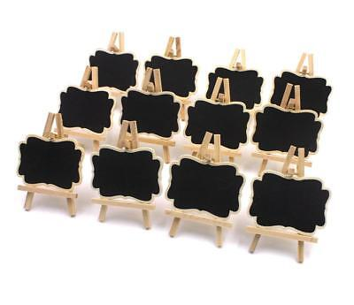12x Rectangle Easel Stand Mini Wooden Wedding Blackboard Chalkboard Message Tags
