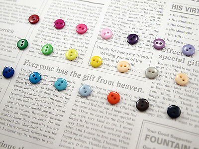 2 Holes 9mm Small Round Buttons for Clothes Sewing Crafts Scrapbooking 21 Colour