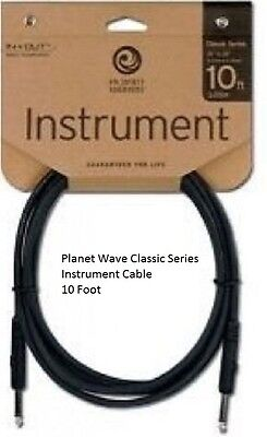 Planet Wave Classic Series Instrument Cable Guitar Bass 10 foot Pw-CGT-10 ft 1/4