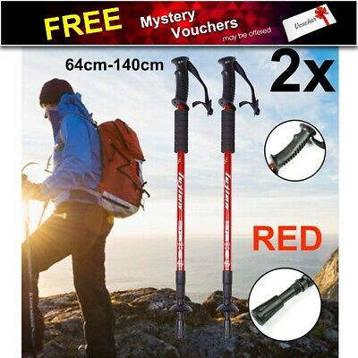 NEW Hiking Trekking Poles Walking Stick Anti Shock Adjustable Camping AU Stock