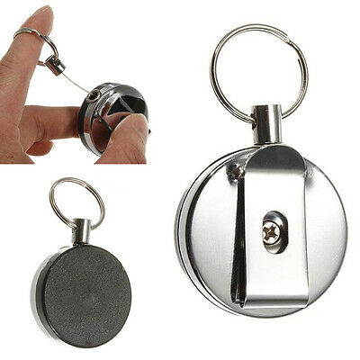 Retractable Metal Key Chain Card Badge Holder Steel Recoil Belt Clip Pull Ring