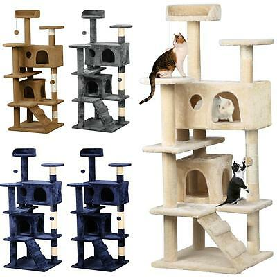 New 136CM Cat Kitten Scratching Poles Tree Furniture Post Pet Tower Gym House