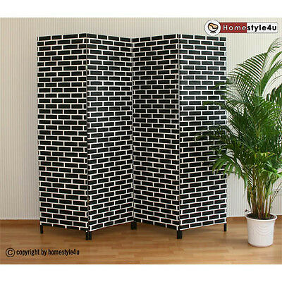 4 part Wicker Room Divider Screen in black-white Paravent