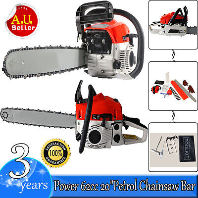 "Power 62cc 20"" Petrol Chainsaw Bar Tree Log Pruning Pruner Garden Chain Saw ho"