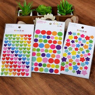 1Set of 6 Sheets Rainbow Color Deco Sticker Paper Craft Sticker Label Stickers A