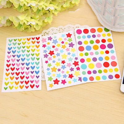 DIY 6Pcs Rainbow Sticker Diary Planner Journal Scrapbook Ablums Decor Tool CA