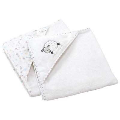 Silvercloud Counting Sheep 100% Cotton White Hooded Baby Bath Towels - Pack of 2