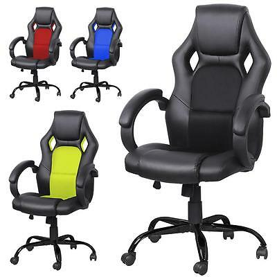 AU 360 Degree Swivel PU Leather Office Computer Chair Sporty Racing Style Seat