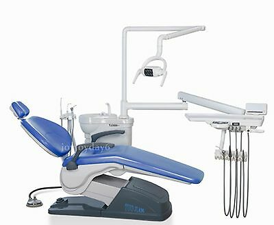 Dental Unit Chair Computer Controlled  A1 Hard Leather Skyblue 4 Hole US STOCK