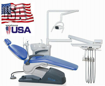 Computer Controlled Dental Unit Chair A1 Hard Leather Skyblue 4 Hole US STOCK