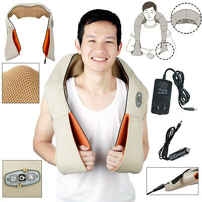 Electric Shiatsu Kneading Neck Shoulder Body Massager With Heat Health Care