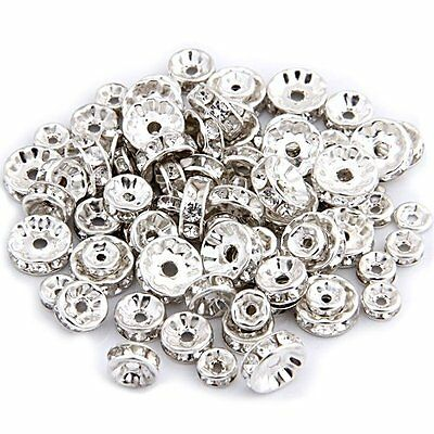 FP 75pcs Silver bead spacer plate and rhinestone DIY Deco Necklace Jewelry 6 + 8