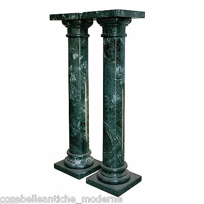 Coppia Colonne in Marmo Verde Alpi Green Marble Pair Column Made in Italy H100cm