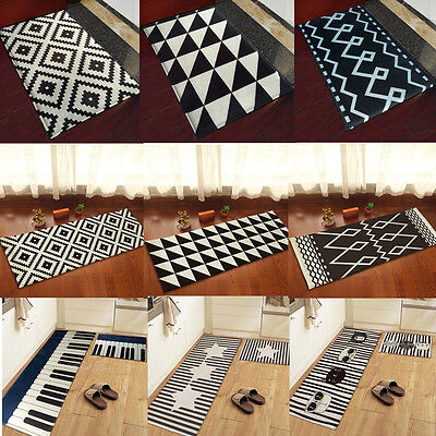 yazi Black White Kitchen Door Mat Flannel Rug Carpet Home Office Floor Runner