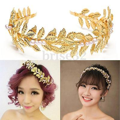 Grecian Retro Golden Leaves Pearl Headband Crown Wedding Party Hair Accessories