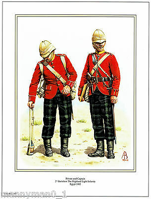 The Highland Light Infantry 2nd Battalion Egypt 1882 Signed Military Print