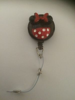 Hand Made Minnie Mouse Retractable ID Card, Pass Or Badge Holder.