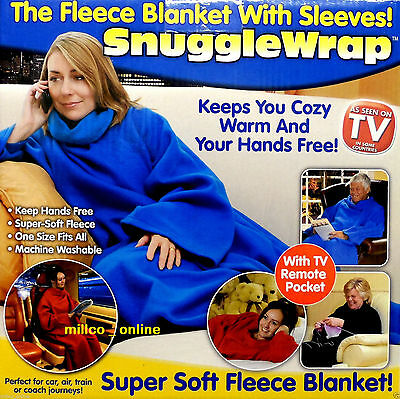 Kids Children Adult Snuggle Wrap Blanket With Sleeves With Pocket Red Blue Pink
