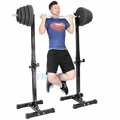 Workout Squat Rack Stand Power Stands Barbell Adjustable Press Weight Bench UK