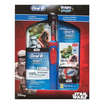New Braun Oral-B Kids Power Electric Rechargable Toothbrush Disney +3 Heads Boys