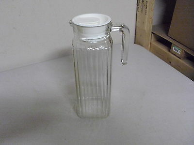 Vintage Glass Fridge Pitcher Jug Jar With Lid 9 1/2 Inches High