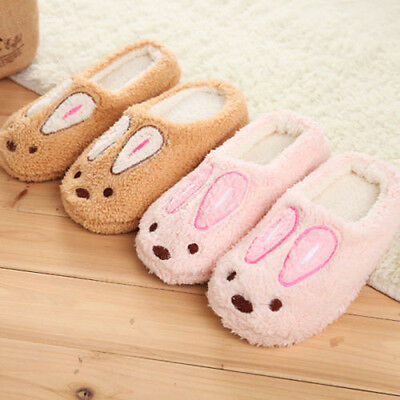 Womens Mens Winter Soft Warm Cute Rabbit Slippers Animal Indoor Home Shoes Size