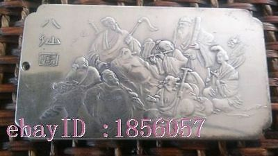 Rare, Beautiful tibet Old silver Nepal The Eight Immortals statue thangka amulet